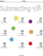 Subtracting 10 Math Worksheet