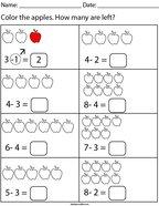 Subtracting Apples Math Worksheet