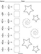 Subtracting Like Fractions Math Worksheet