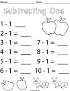 Subtracting One Math Worksheet