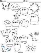 Subtraction- At the Beach Math Worksheet