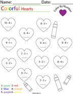Subtraction- Color by Number Hearts Math Worksheet