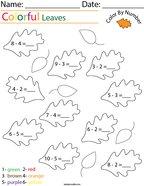 Subtraction- Color by Number Leaves Math Worksheet