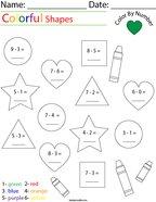 Subtraction- Color by Number Shapes Math Worksheet