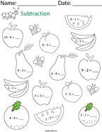Subtraction- Fruit Math Worksheet