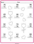 Subtraction Practice Math Worksheet