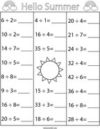 Summer Division Math Worksheet