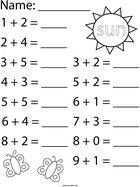 Sunny Day Addition Math Worksheet