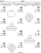 Thanksgiving Double Digit Addition Math Worksheet