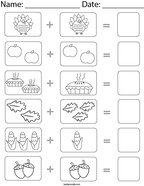 Thanksgiving Picture Addition Math Worksheet