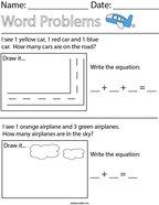 Transportation Addition Word Problems Math Worksheet