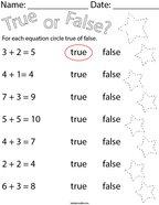True or False Addition Equations Math Worksheet