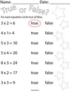 True or False Multiplication Equations Math Worksheet