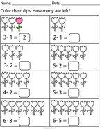 Tulip Subtraction Math Worksheet