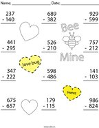 Valentine's Day 3 Digit Subtraction Math Worksheet