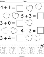 Valentine's Day Addition Cut and Paste Math Worksheet