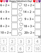 Valentine's Day Division Cut and Paste Math Worksheet