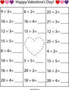 Valentine's Day Division Math Worksheet
