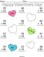Valentine's Day Double Digit Addition Math Worksheet