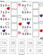 Valentine's Day Multiplication Cut and Paste Math Worksheet