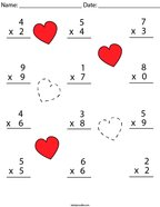 Valentine's Day Multiplication Practice- 1 Digit Math Worksheet