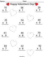 Valentine's Day Multiplication Practice- 2 Digit by 1 Digit Math Worksheet