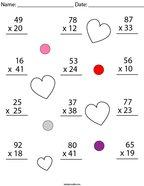 Valentine's Day Multiplication Practice- 2 Digit by 2 Digit Math Worksheet