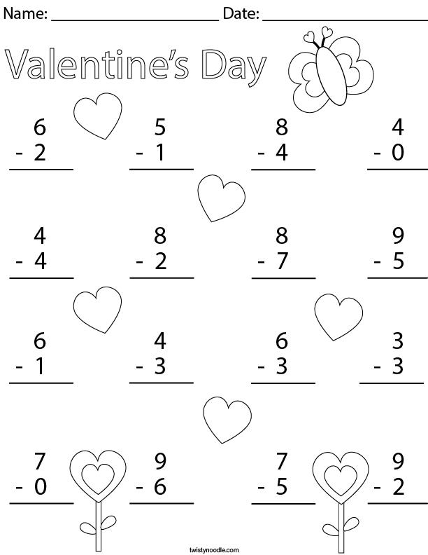 Valentine's Day Single Digit Subtraction Math Worksheet