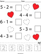 Valentine's Day Subtraction Cut and Paste Math Worksheet