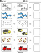 Vehicle Picture Addition Math Worksheet
