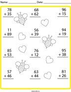 Vertical Addition Practice Math Worksheet