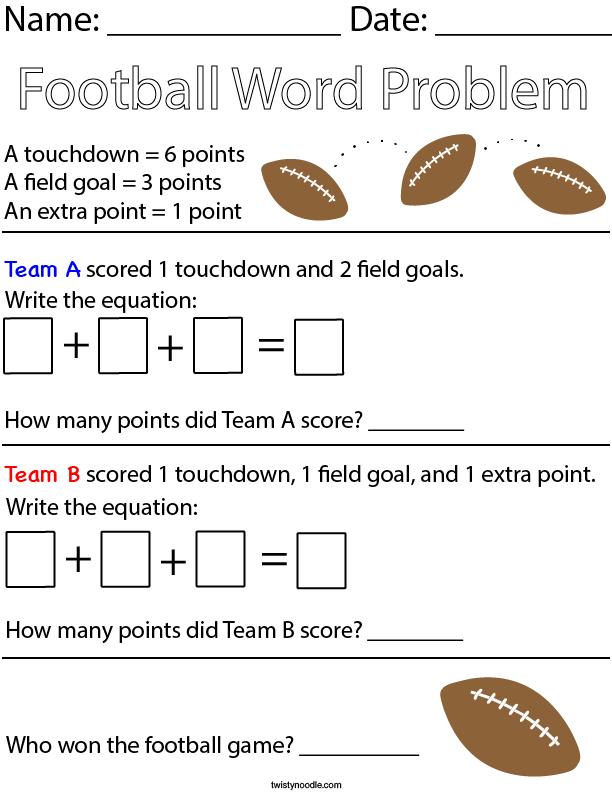 Who won the football game? Math Worksheet