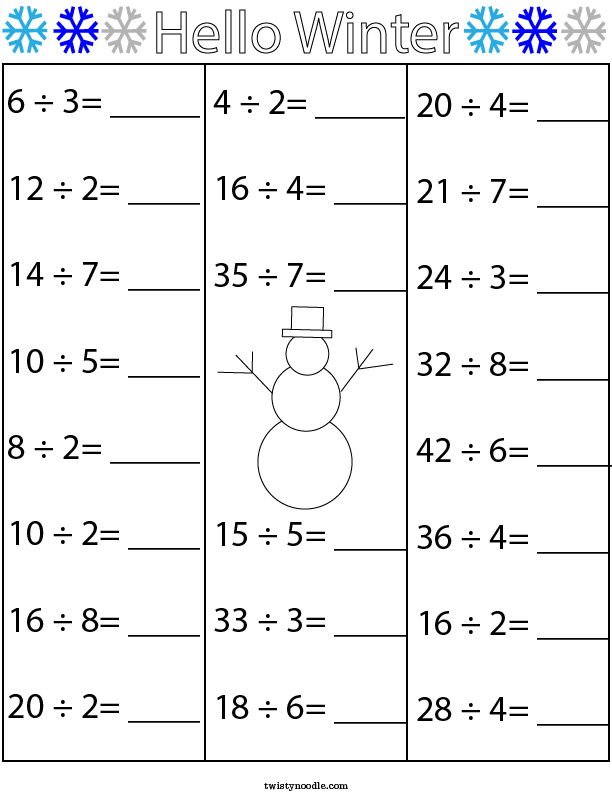 Winter Division Math Worksheet