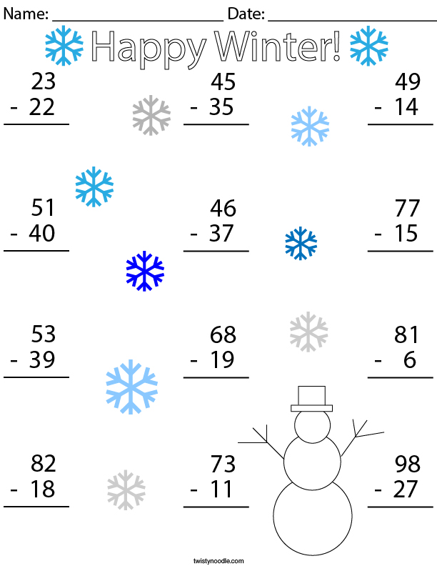 Winter Double Digit Subtraction Math Worksheet