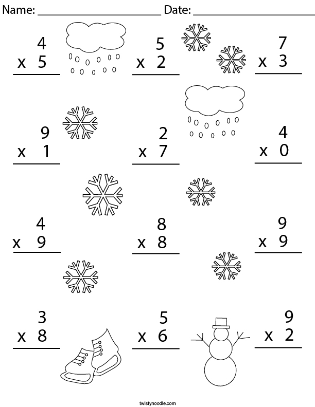 Winter Multiplication Practice- 1 Digit Math Worksheet