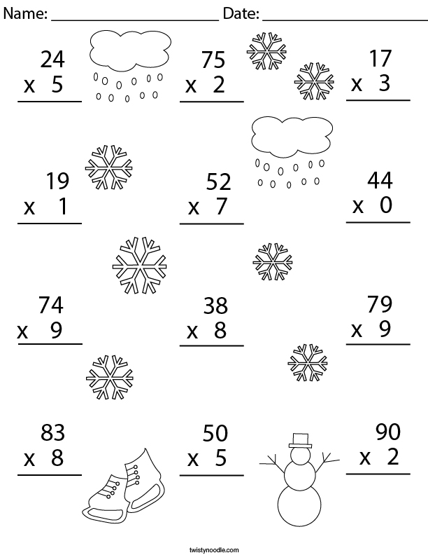 Winter Multiplication Practice 2 Digit by 1 Digit Math Worksheet