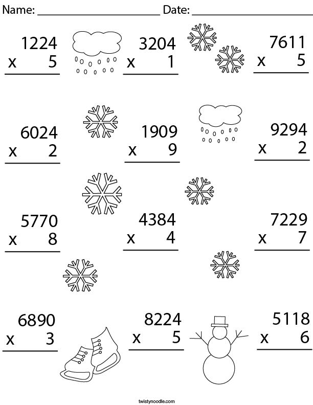 Winter Multiplication Practice 4 Digit by 1 Digit Math Worksheet