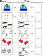 Winter Picture Addition Math Worksheet