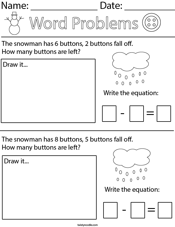 Winter Subtraction Word Probles Math Worksheet