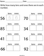 Write How Many Tens and Ones are in each Number Math Worksheet