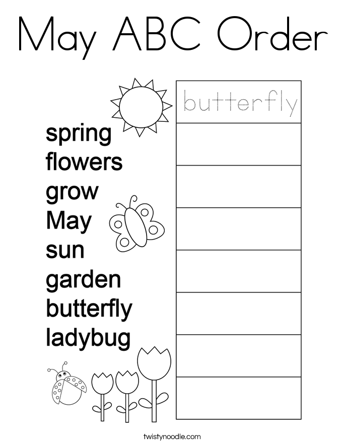 May ABC Order Coloring Page