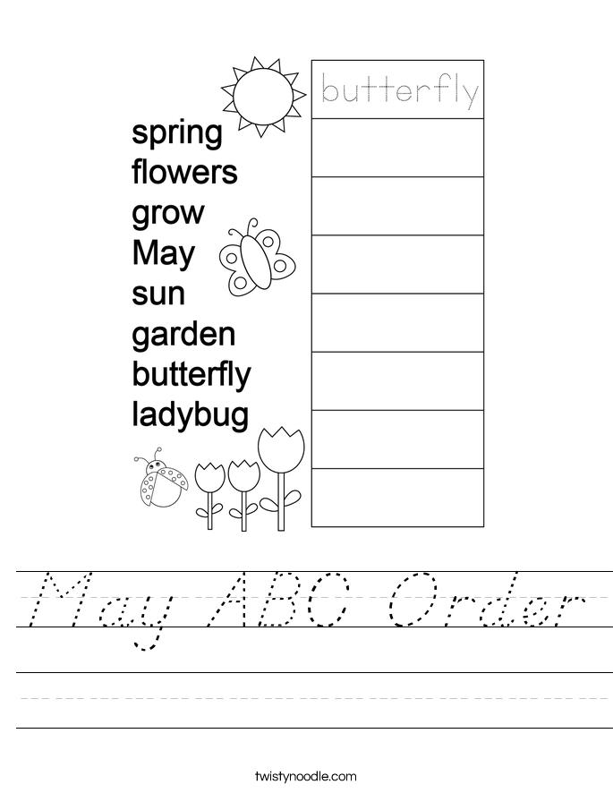 May ABC Order Worksheet
