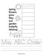 May ABC Order Handwriting Sheet