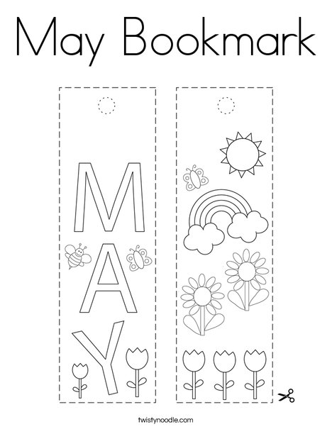 May Bookmark Coloring Page