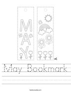 May Bookmark Handwriting Sheet