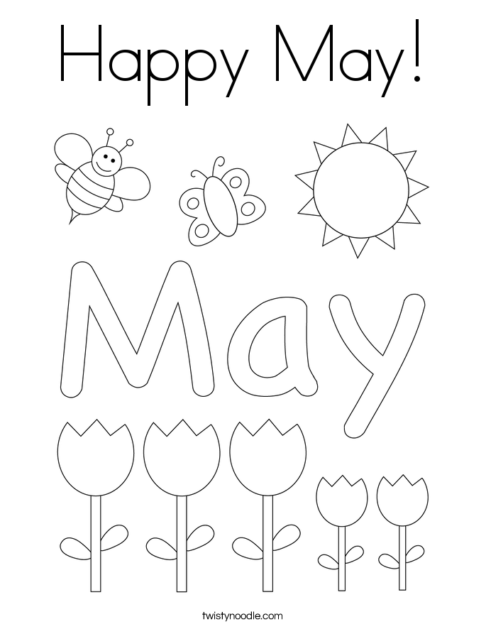 Happy May! Coloring Page