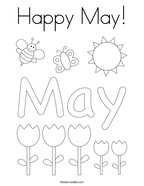 Happy May Coloring Page
