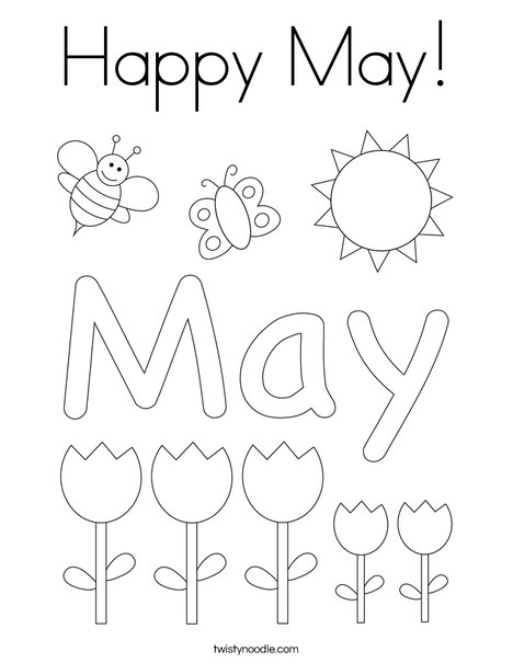 May Day with Butterfly Coloring Page
