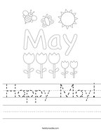 Happy May Handwriting Sheet