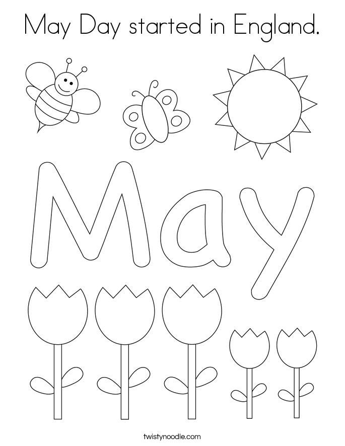 May Day started in England. Coloring Page